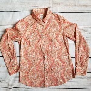 J. CREW Pink Coral Paisley Button Down Shirt Small